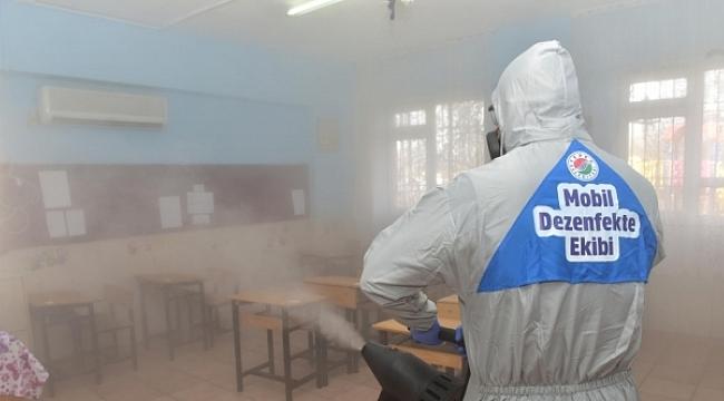 Kepez'de Köy Okulları Dezenfekte Edildi